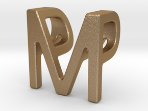Two way letter pendant - MP PM in Matte Gold Steel