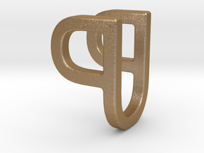 Two way letter pendant - PU UP in Matte Gold Steel