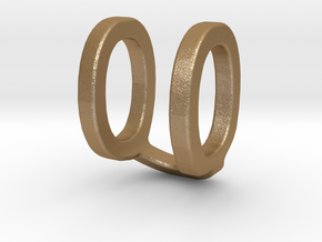 Two way letter pendant - QU UQ in Matte Gold Steel