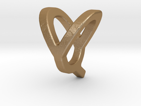 Two way letter pendant - QY YQ in Matte Gold Steel
