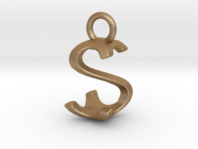 Two way letter pendant - SS S in Matte Gold Steel