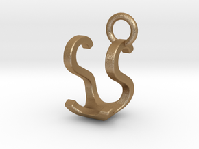 Two way letter pendant - SU US in Matte Gold Steel