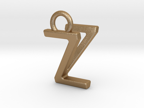 Two way letter pendant - VZ ZV in Matte Gold Steel