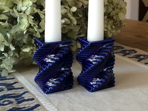Porcelain Step Candle Holder (Small) in Gloss Cobalt Blue Porcelain