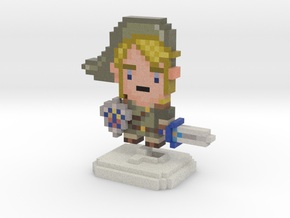 Green Elf (Ocarina) Pixel Figurine in Full Color Sandstone