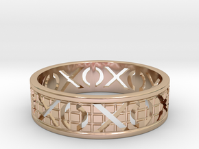 Size 9 Xoxo Ring A in 14k Rose Gold Plated