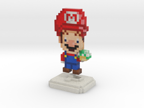 Super Plumber Red Bro Pixel Figurine in Full Color Sandstone
