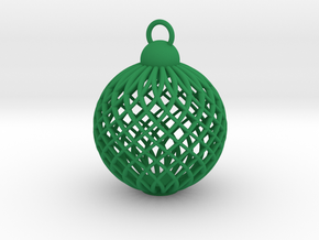Cage Tree Bauble in Green Strong & Flexible Polished