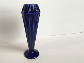 12 Sided Geometric Candle Stick in Gloss Cobalt Blue Porcelain