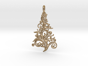 Christmas Tree Pendant 6 in Polished Gold Steel