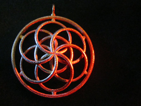 Seed of Life Pendant - 4.5cm in Polished Gold Steel