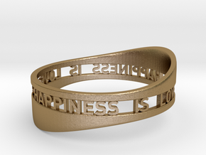 LOVE IS HAPPINESS IS LOVE in Polished Gold Steel