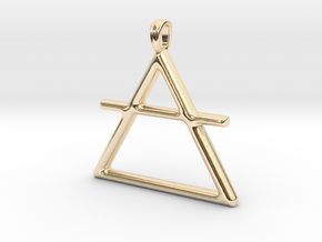 AIR Alchemy symbol Jewelry pendant in 14K Gold