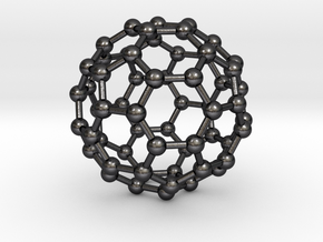 0370 Truncated Icosahedron V&E (a=1cm) #003 in Polished Grey Steel