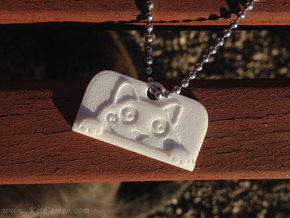 Voyeur Cat Pendant - Small in White Strong & Flexible