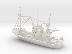 Fishing boat 01. Z Scale (1:220) in White Strong & Flexible