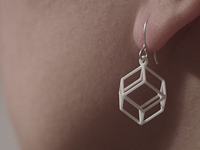 Rhombic Dodecahedron Earrings  in White Strong & Flexible Polished