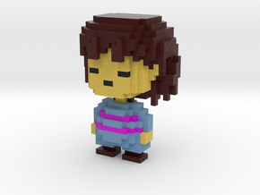 Frisk Voxel Figurine in Full Color Sandstone