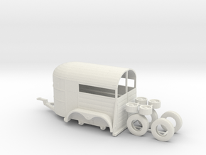 1/64th Tandem axle 13' long horse trailer in White Strong & Flexible