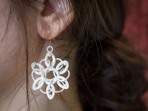 Knotted Earrings in White Strong & Flexible Polished