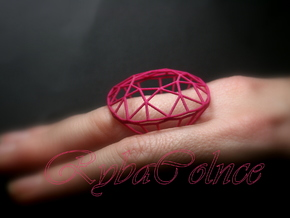 Ring The Diamond / size 6 1/2 US  (17mm) in Pink Strong & Flexible Polished