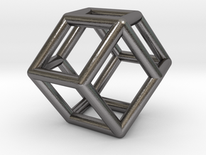 0292 Rhombic Dodecahedron E (a=1cm) #001 in Polished Nickel Steel