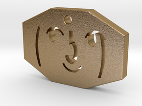 Lenny Face Pendant  in Polished Gold Steel