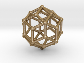 0304 Rhombic Triacontahedron V&E (a=1cm) #002 in Polished Gold Steel