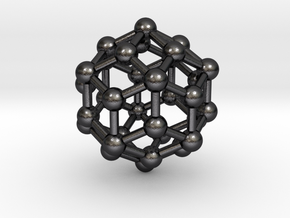 0305 Rhombic Triacontahedron V&E (a=1cm) #003 in Polished Grey Steel