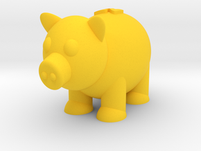 Pig (Nikoss'Animals) in Yellow Strong & Flexible Polished