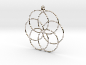 Flower of Life - Hollow Pendant V2 in Rhodium Plated