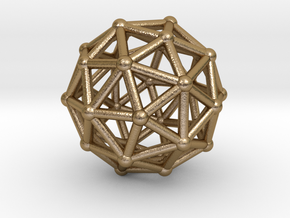 0326 Pentakis Dodecahedron V&E (a=1cm) #002 in Polished Gold Steel