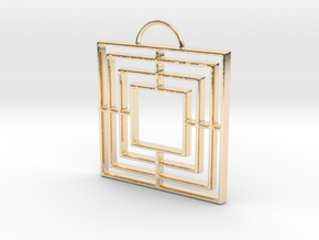 Triple Square Pendant in 14k Gold Plated
