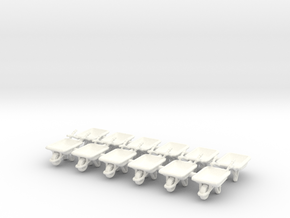 Wheelbarrow 01. HO Scale (1:87) in White Strong & Flexible Polished