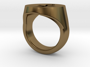 Ankh Signet Ring in Polished Bronze