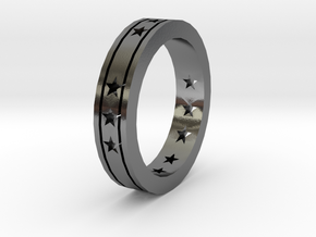Ring Star open in Polished Silver