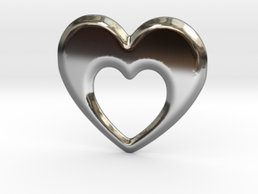 Heart within a heart pendant  in Premium Silver