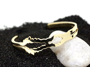 I Love You Sound Wave | Wrist Cuff 64 mm in 14k Gold Plated