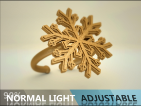 Snowflake Ring 1 d=16.5mm Adjustable h21d165a in Matte Gold Steel