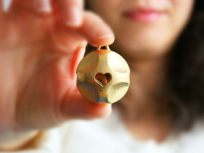 Ornament for Lovers with Hearts inside in Polished Gold Steel