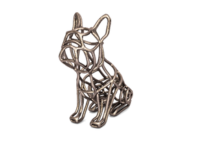 French Bulldog Wireframe Keychain (sitting) in Stainless Steel