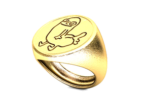 Dickbutt Ring Size 10 For Printing in Polished Gold Steel