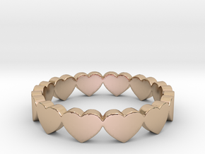 Pandora Style Hearts Ring - Size 7 in 14k Rose Gold Plated
