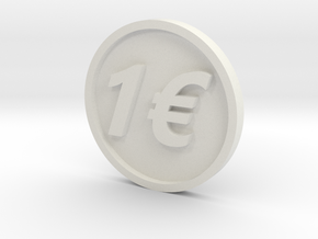 One Euro Coin in White Strong & Flexible