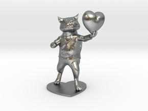 Valentines Day Cat holding Heart in Raw Silver