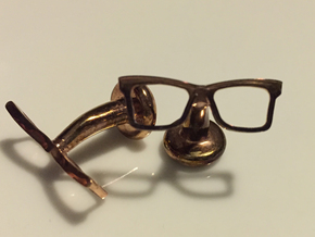 Hipster Glasses Cufflinks Origin in 14k Rose Gold Plated