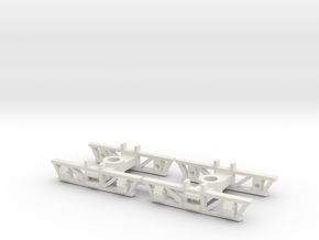 HOn30 pair 4 wheeled truck/disconnect underframe in White Strong & Flexible
