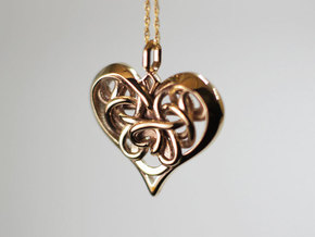 Tied Heart Pendant in Polished Bronze