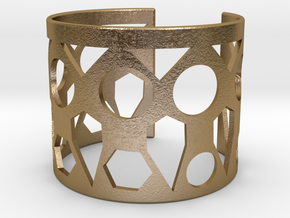 Cubic Bracelet Ø78 Mm/ Ø3.07inch Style A XXL in Polished Gold Steel