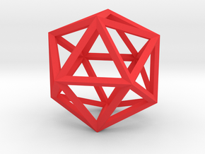 17cm-Icosahedron-Platon05-Polyhedron05 in Red Strong & Flexible Polished